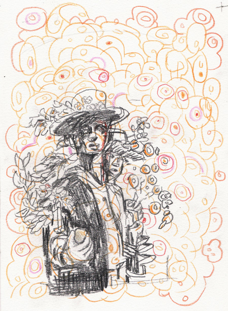 Couple Of Flowers - Small Drawings by Carlos Quiterio
